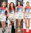 Vier Schönheiten entschieden sich in den letzten Tagen für das Mary Katrantzou-Kleid von Topshop