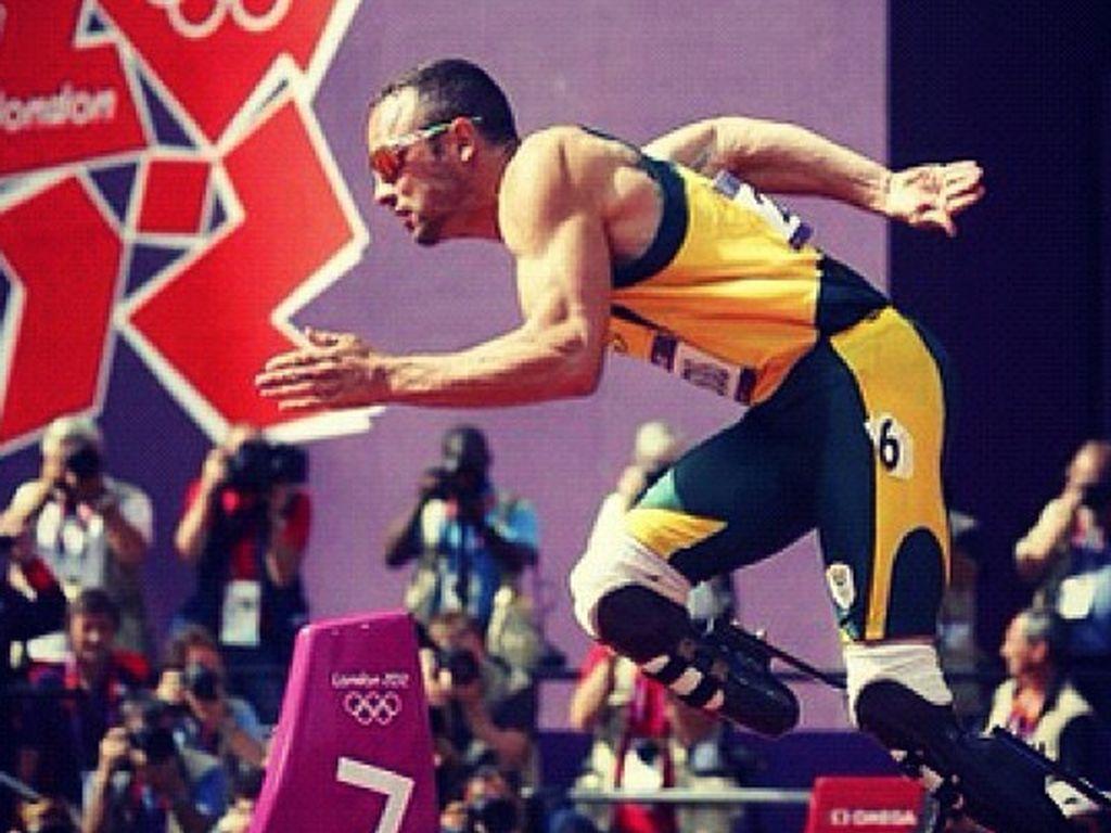Oscar Pistorius rennend