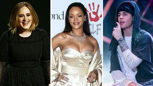 Adele, Rihanna und Justin Bieber in einer Collage