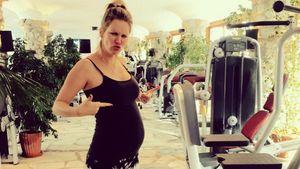 Die schwangere Monica beim Fitness