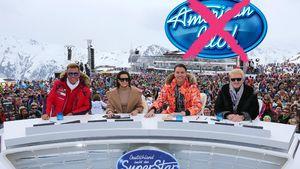 DSDS-Jury mit durchgestrichenem American Idol-Logo