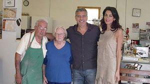 Gerorge Clooney und Amal beim Bäcker