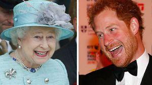 Queen Elizabeth und Prinz Harry lachen