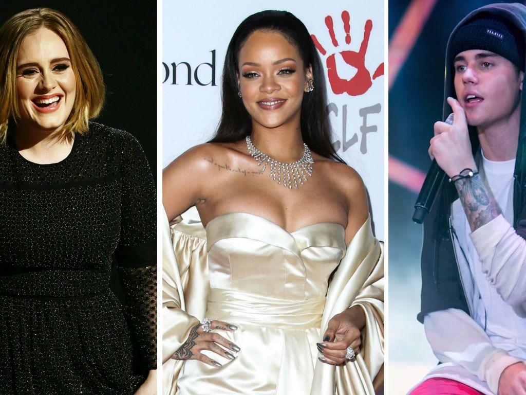 Justin Bieber, Rihanna und Adele Adkins