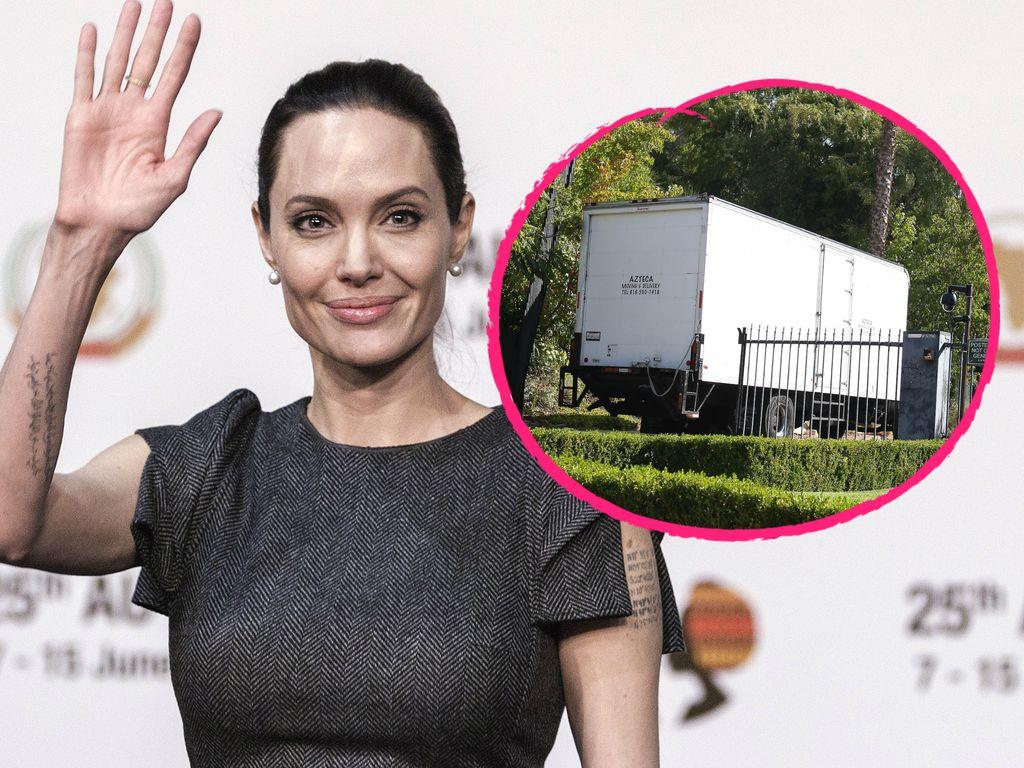 Angelina Jolie mit Umzugswagen
