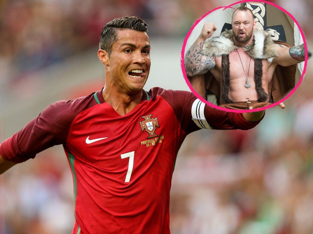 """Fußballstar Cristiano Ronaldo und """"Game of Thrones""""-Darsteller Hafthor Julius Björnsson"""