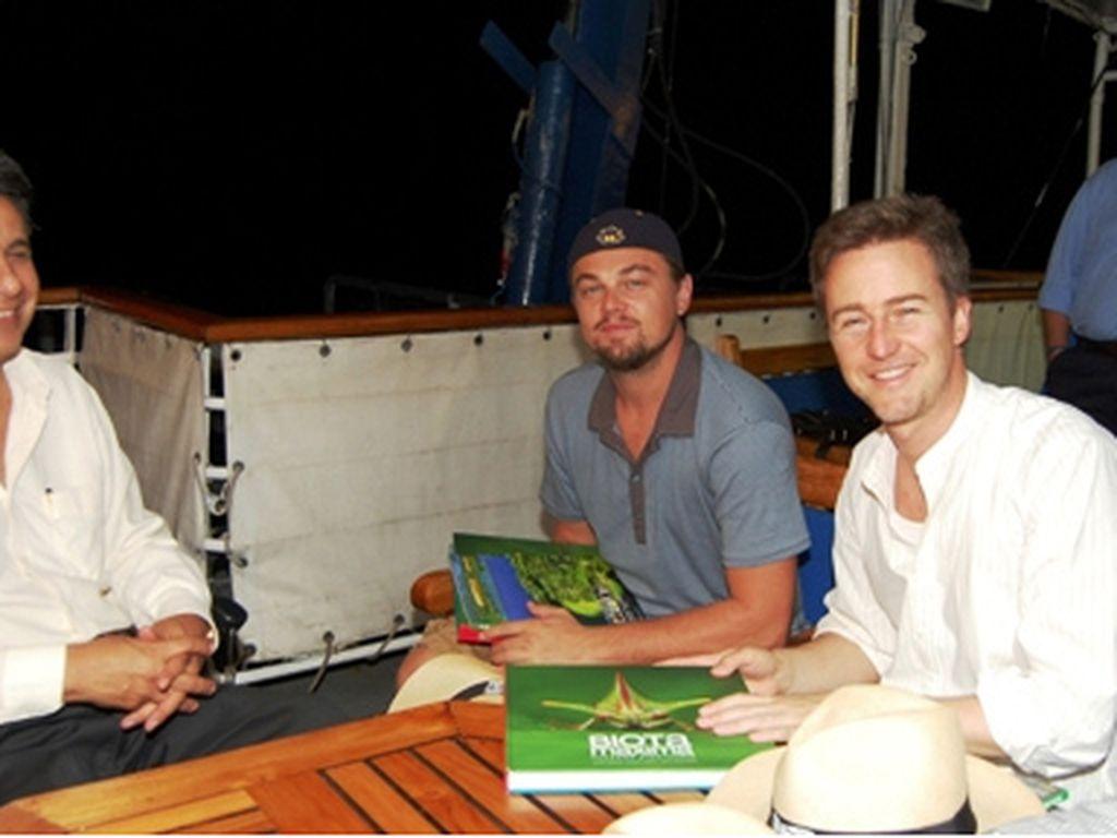 Lenin Moreno, Leonardo DiCaprio und Edward Norton (v.l.n.r.)