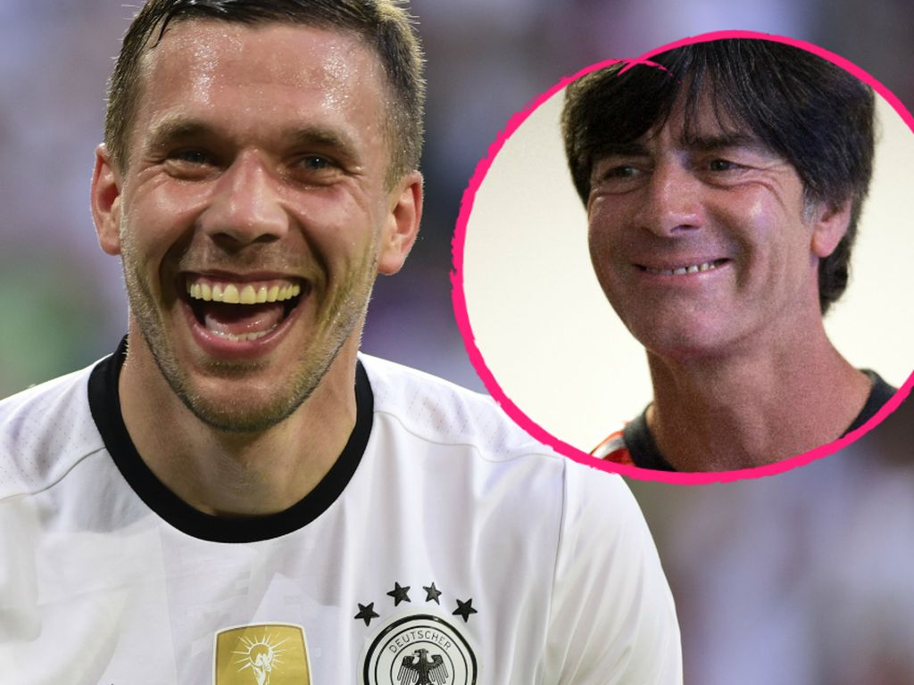 Lukas Podolski und Joachim Löw