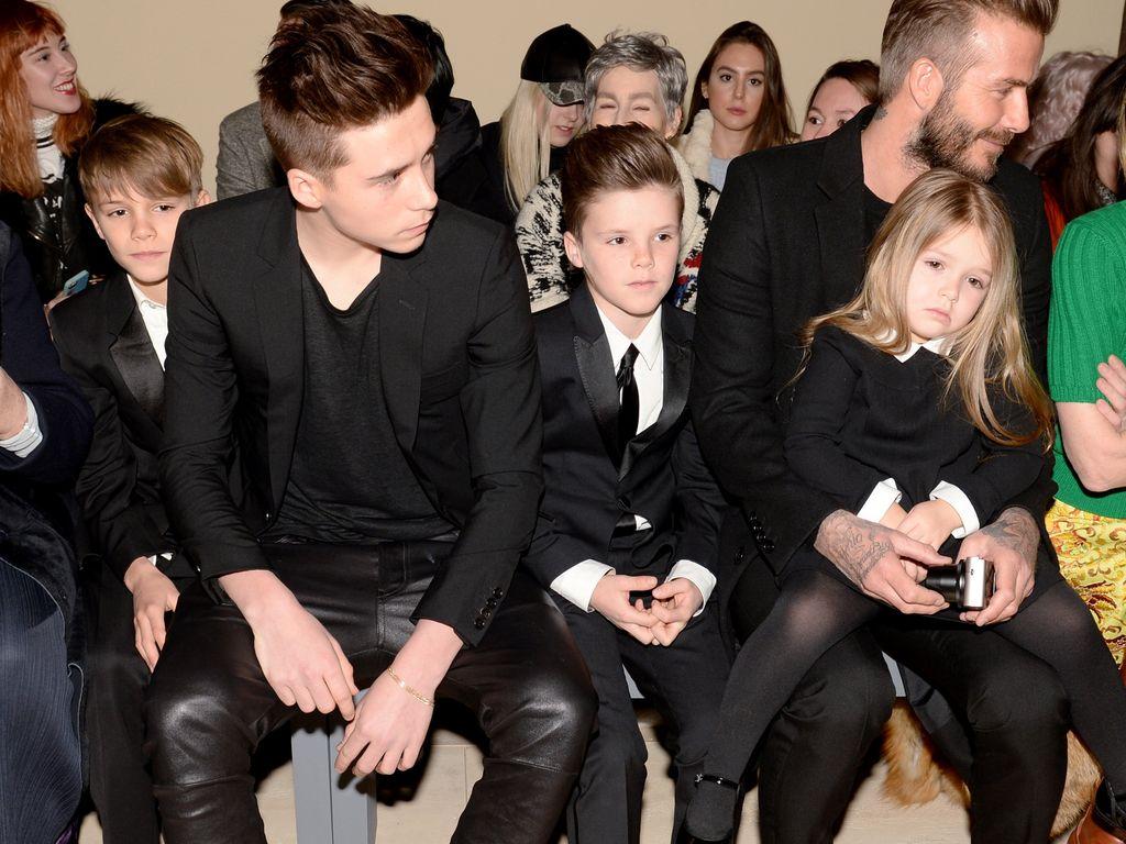 David Beckham, Brooklyn Beckham, Harper Seven Beckham und Cruz Beckham