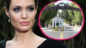 Angelina Jolie und das Eingangstor der Hidden Hills in Los Angeles