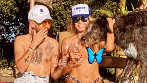 Heidi Klum entspannt ohne Top mit Bill Kaulitz am Pool