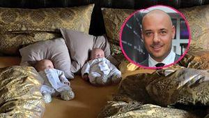 Christan Tews mit seinen Zwillingen in einer Collage