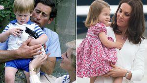 Prinz Charles und Prinzessin Diana mit ihrem Sohn Harry und Herzogin Kate mit Prinzessin Charlotte