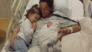 Danielle Jonas kurz nach der Geburt ihres zweiten Kindes