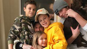 David Beckham mit seinen vier Kindern