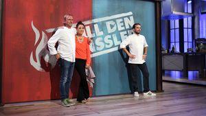 """Frank Buchholz, Nina Moghaddam und Steffen Henssler bei """"Grill den Henssler"""""""