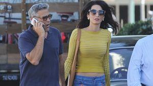 """George Clooney und Ehefrau Amal auf dem Set von """"Surburbicon"""""""