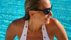 Heiß! Iris Aschenbrenner setzt XL-Babybauch am Pool in Szene
