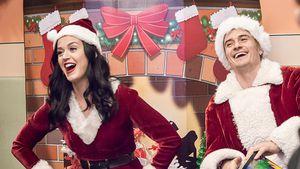 Katy Perry und Orlando Bloom als Mrs. und Mr. Santa Claus im Kinderkankenhaus