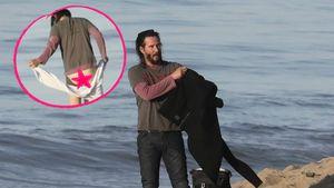Hoppla! Keanu Reeves zeigt am Strand seinen Allerwertesten