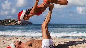Krasse Pose! Kevin Trapp und Izabel Goulart beim Strand-Yoga