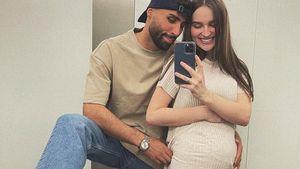 Überglücklich: Schwangere Louisa Jindaoui zeigt Babybauch