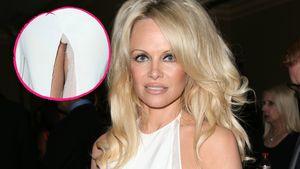 Pamela Andersons Kleid ist aufgerissen in einer Collage