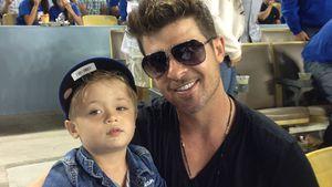 Robin Thicke und Söhnchen Julian bei einem Baseballspiel in Los Angeles