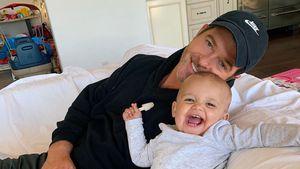 Hier strahlt Robin Thicke mit Tochter Lola (1) um die Wette