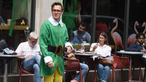 Bei Dreharbeiten: Tom Fletcher in der Oxford Street in London