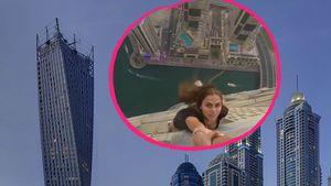 Viki Odintcova und der Cayan Tower in Dubai