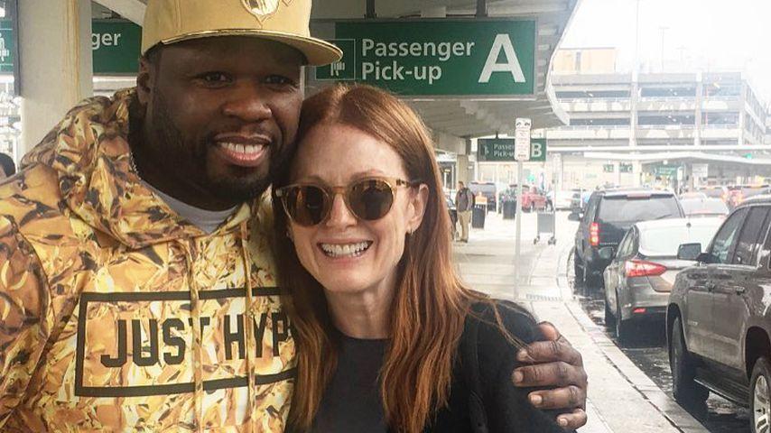 50 Cent mit Schauspielerin Julianne Moore in New York