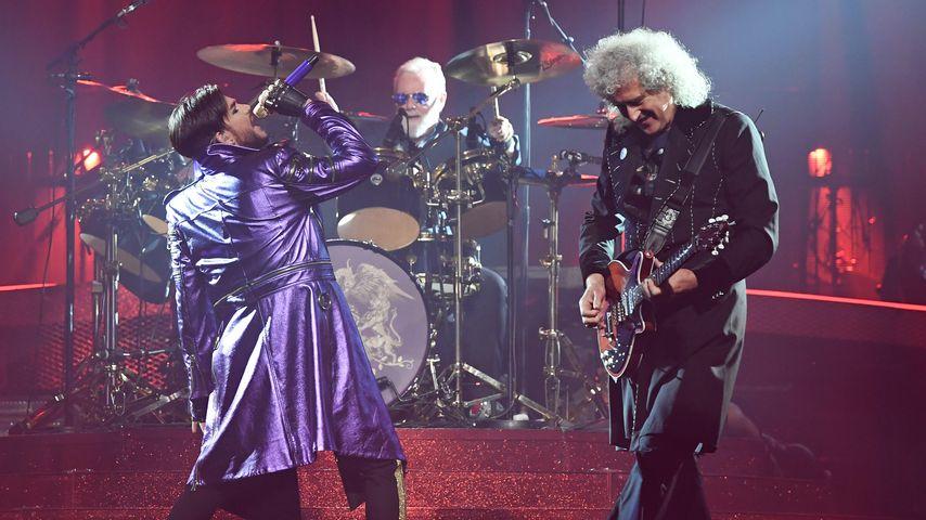Adam Lambert, Roger Taylor und Brian May bei einem Auftritt als Queen + Adam Lambert