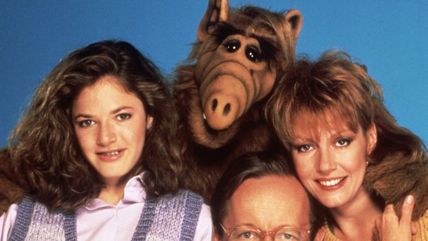 """Andrea Elson, Max Wright, Anne Schedeen und Benji Gregory als Familie Tanner in """"Alf"""""""