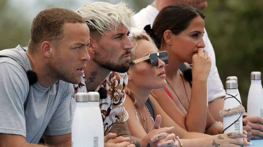 "Andrej Mangold, Mike Heiter, Laura Morante und Jenefer Riili bei ""Kampf der Realitystars"""