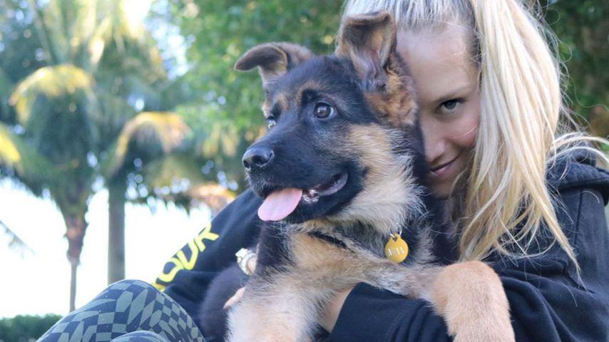 Anna Kournikova und ihr Hund Max in Miami im Oktober 2019