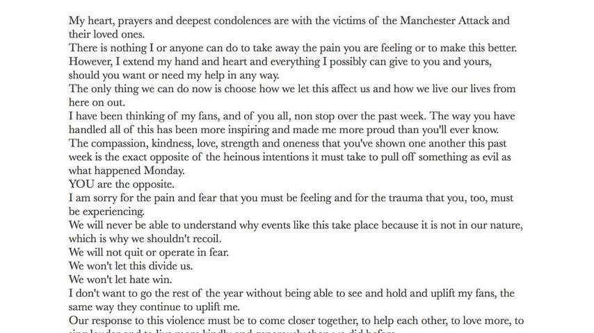 Ariana Grandes Message an die Manchester-Opfer und ihre Liebsten