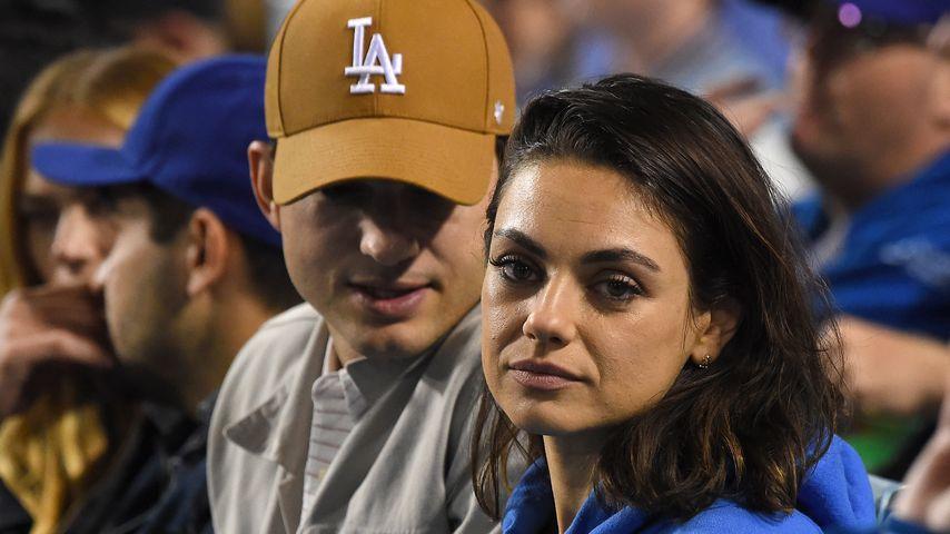 Ashton Kutcher und Mila Kunis im Baseball-Stadion in Los Angeles
