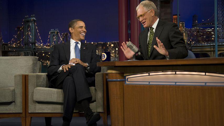 Barack Obama und David Letterman in einer Show 2009