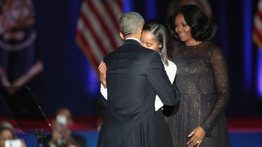 Barack Obama mit Malia und Michelle Obama bei seiner Abschiedsrede