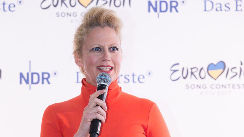 Barbara Schöneberger bei einer ESC-Pressekonferenz, 2017