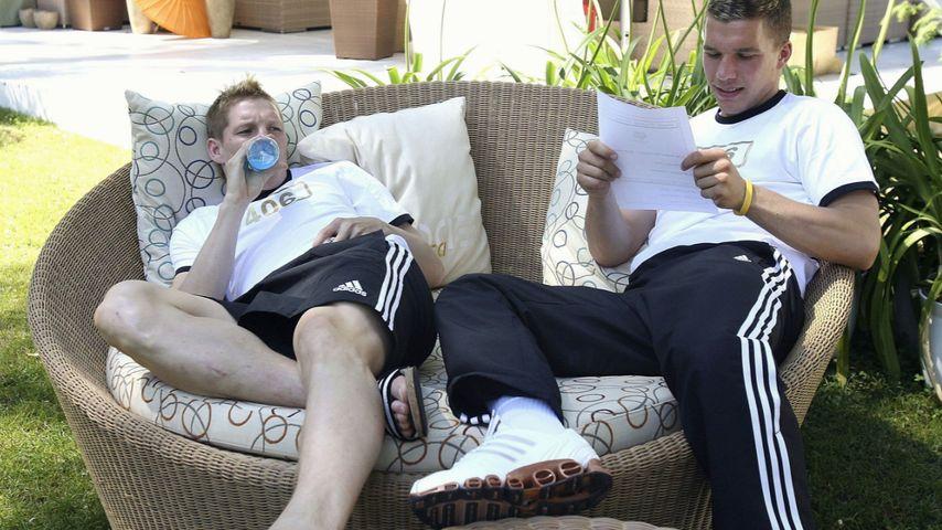 Bastian Schweinsteiger und Lukas Podolski im Trainingslager vor der WM 2006