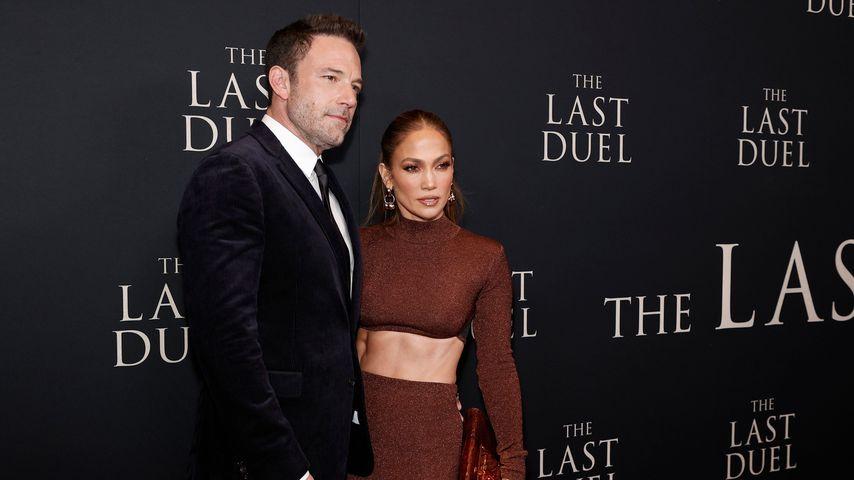 """Ben Affleck und Jennifer Lopez bei der Premiere von """"The Last Duel"""" in New York, 2021"""