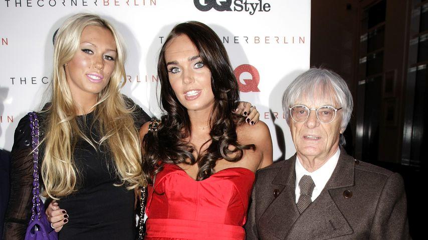 Bernie Ecclestone mit seinen Töchtern Petra und Tamara, September 2009