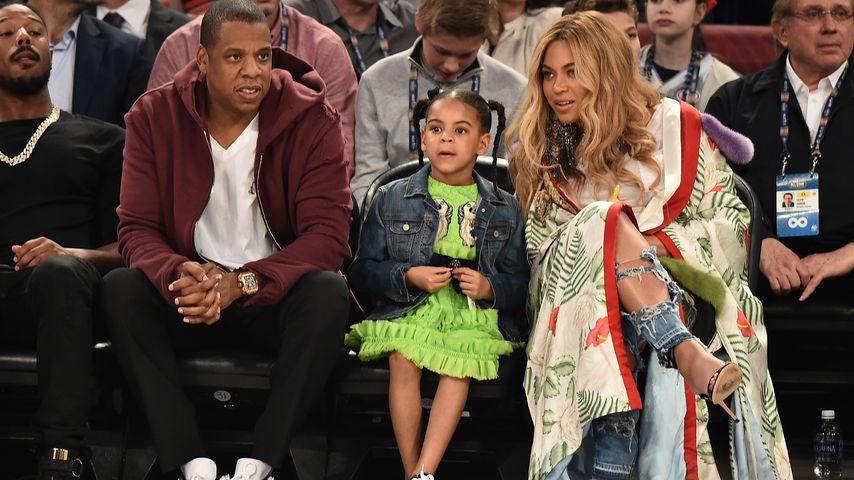 Jay-Z, Blue Ivy und Beyoncé beim 66. NBA All-Star Spiel