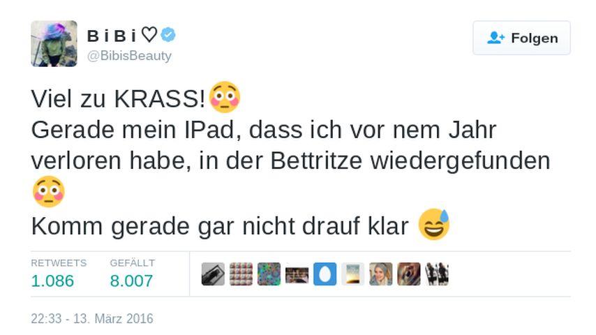 Bibi Heinicke alias Bibis Beauty Palace Twitter-Posting