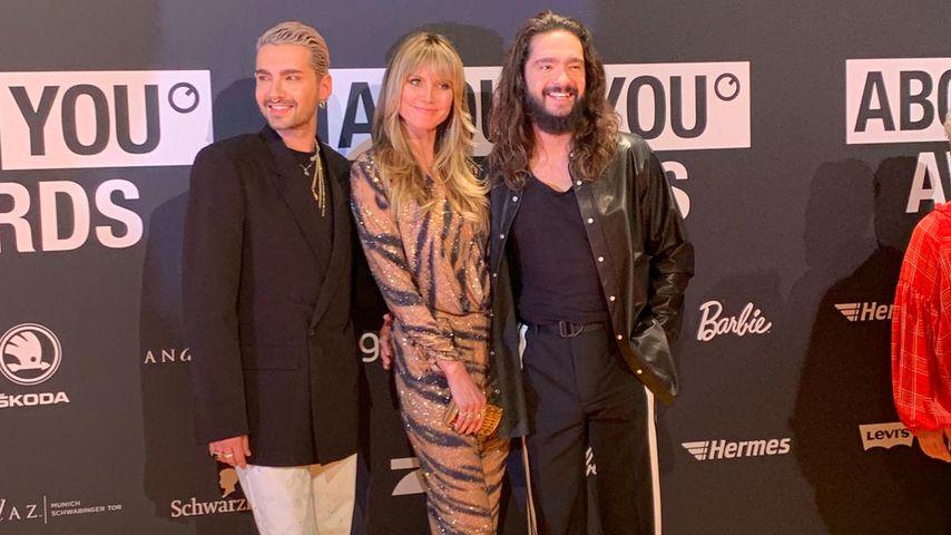 Bill Kaulitz, Heidi Klum und Tom Kaulitz im April 2019