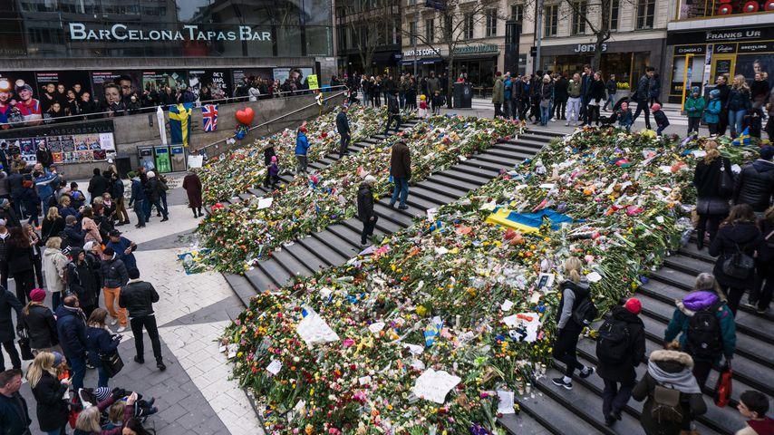 Blumenmeer in Stockholm nach dem Anschlag im April 2017