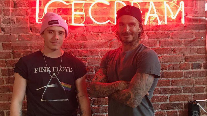Brooklyn und David Beckham im Museum of Ice Cream