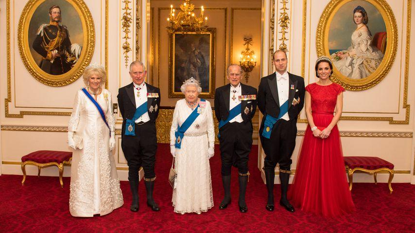 Camilla und Prinz Charles, Queen Elizabeth mit Prinz Philip, Prinz William mit Kate in London, 2016